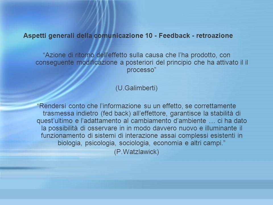 Aspetti generali della comunicazione 10 - Feedback - retroazione