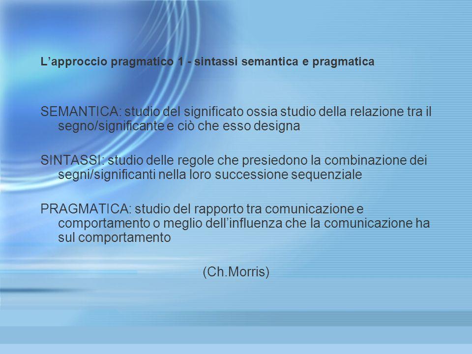 L'approccio pragmatico 1 - sintassi semantica e pragmatica
