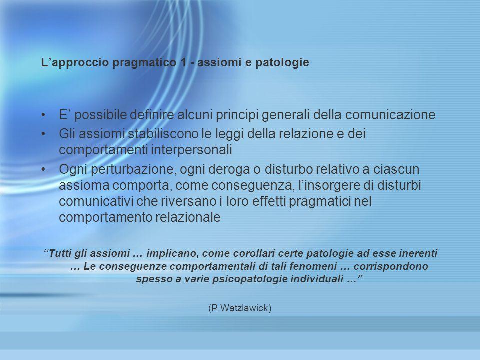 L'approccio pragmatico 1 - assiomi e patologie