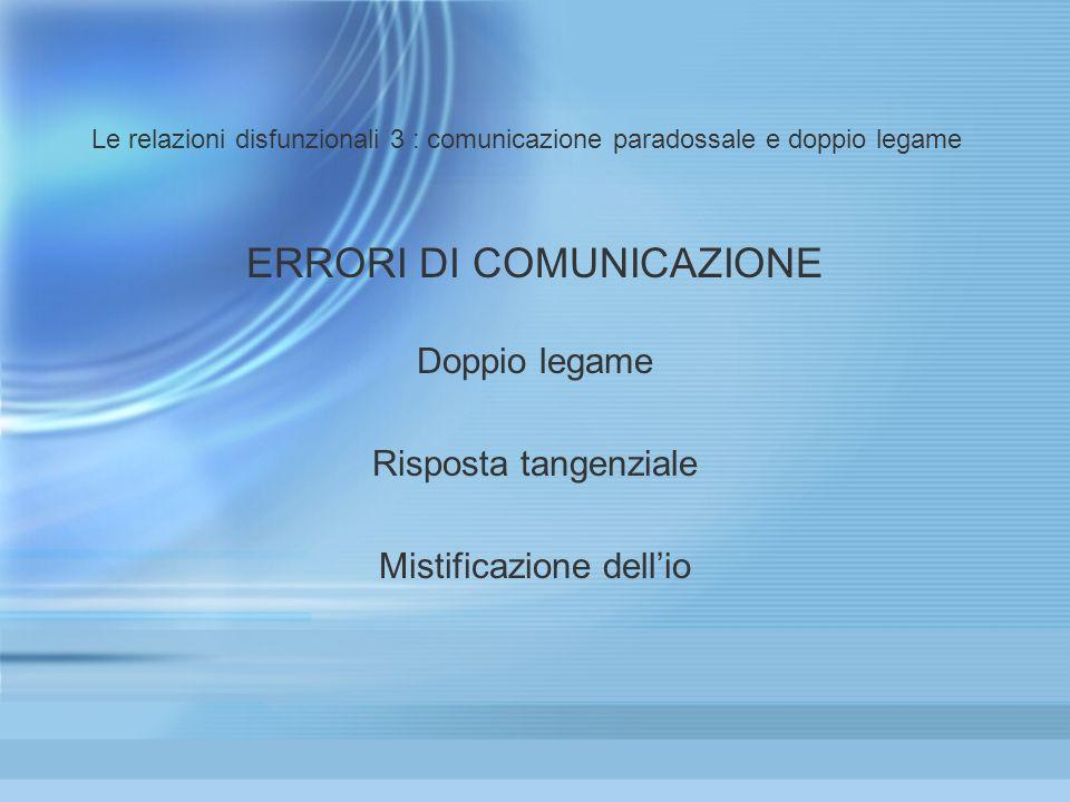 ERRORI DI COMUNICAZIONE