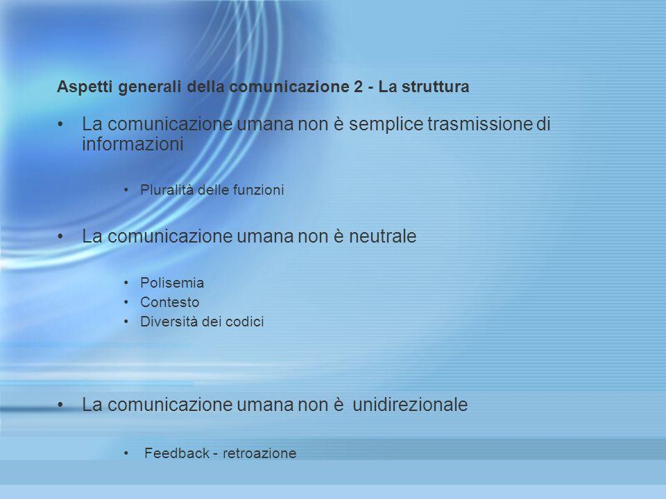 Aspetti generali della comunicazione 2 - La struttura