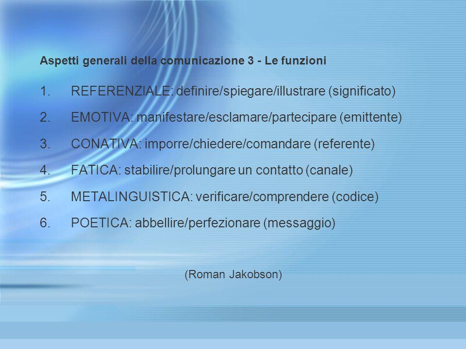 Aspetti generali della comunicazione 3 - Le funzioni