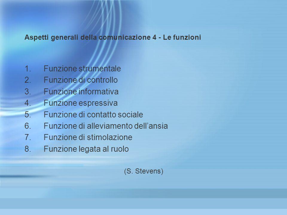 Aspetti generali della comunicazione 4 - Le funzioni