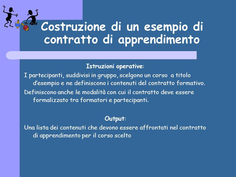 Costruzione di un esempio di contratto di apprendimento