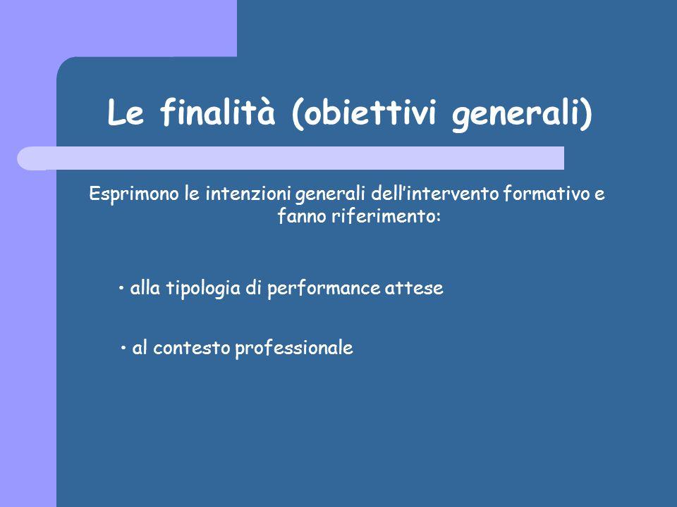 Le finalità (obiettivi generali)