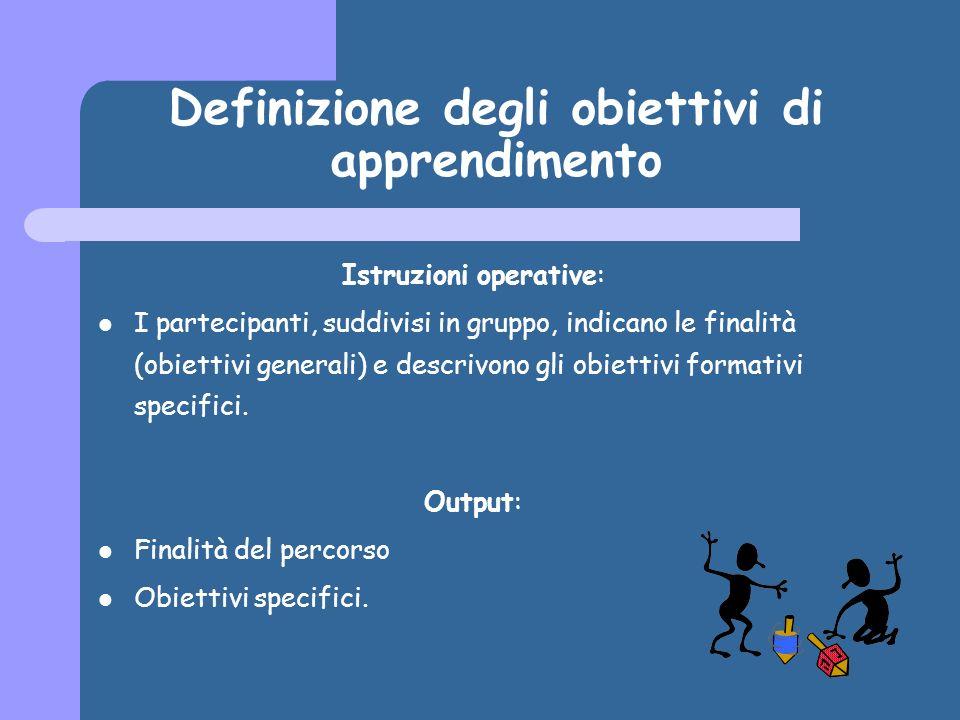 Definizione degli obiettivi di apprendimento