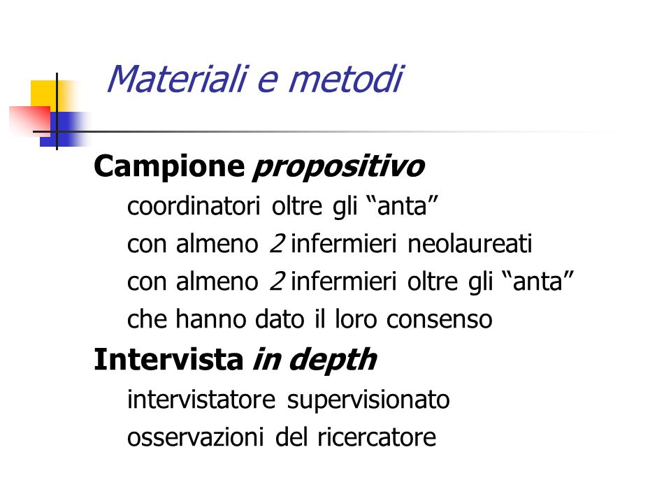 Materiali e metodi Campione propositivo Intervista in depth