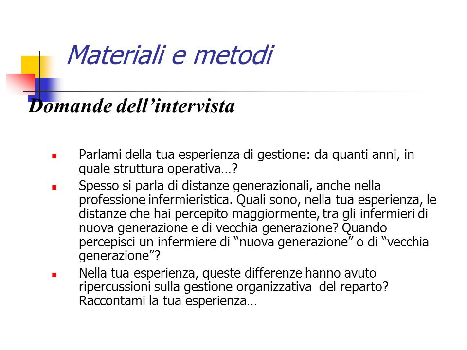 Materiali e metodi Domande dell'intervista