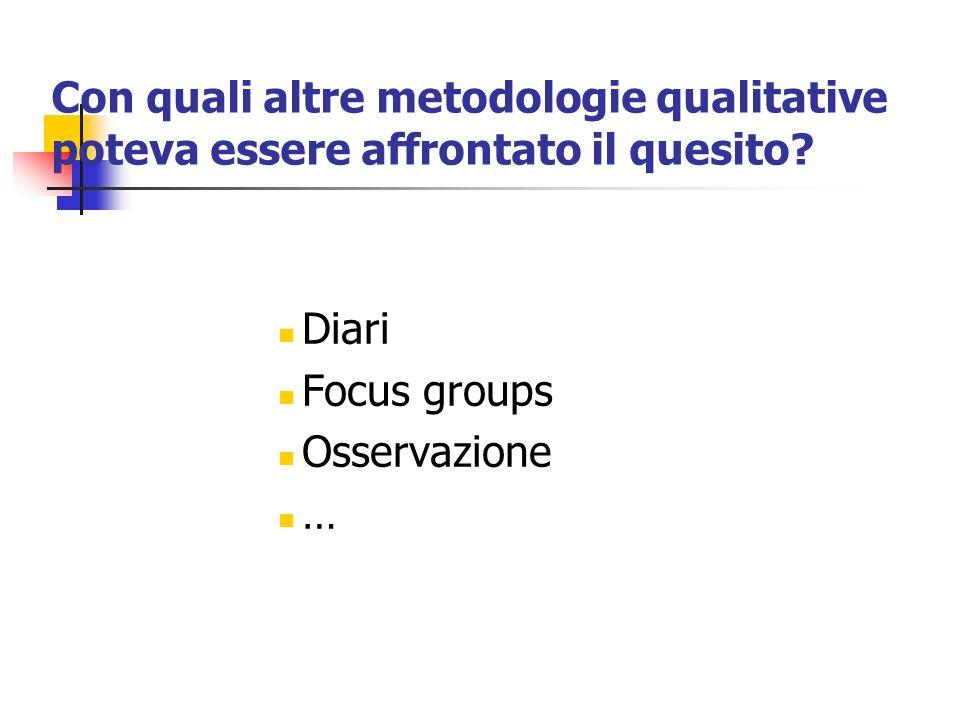Con quali altre metodologie qualitative poteva essere affrontato il quesito