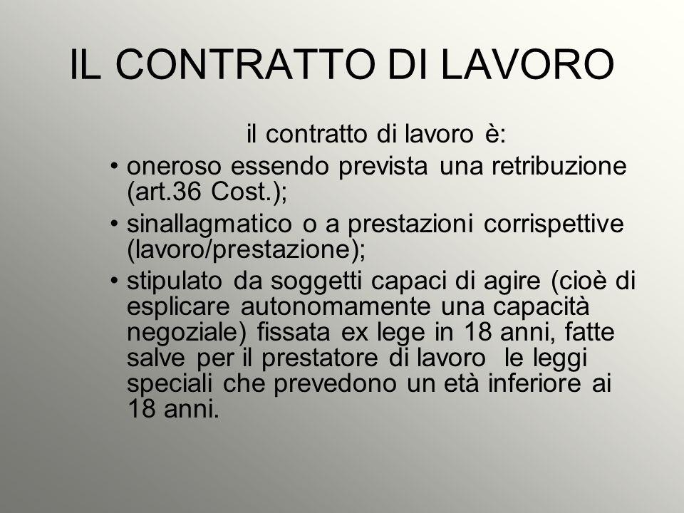 il contratto di lavoro è: