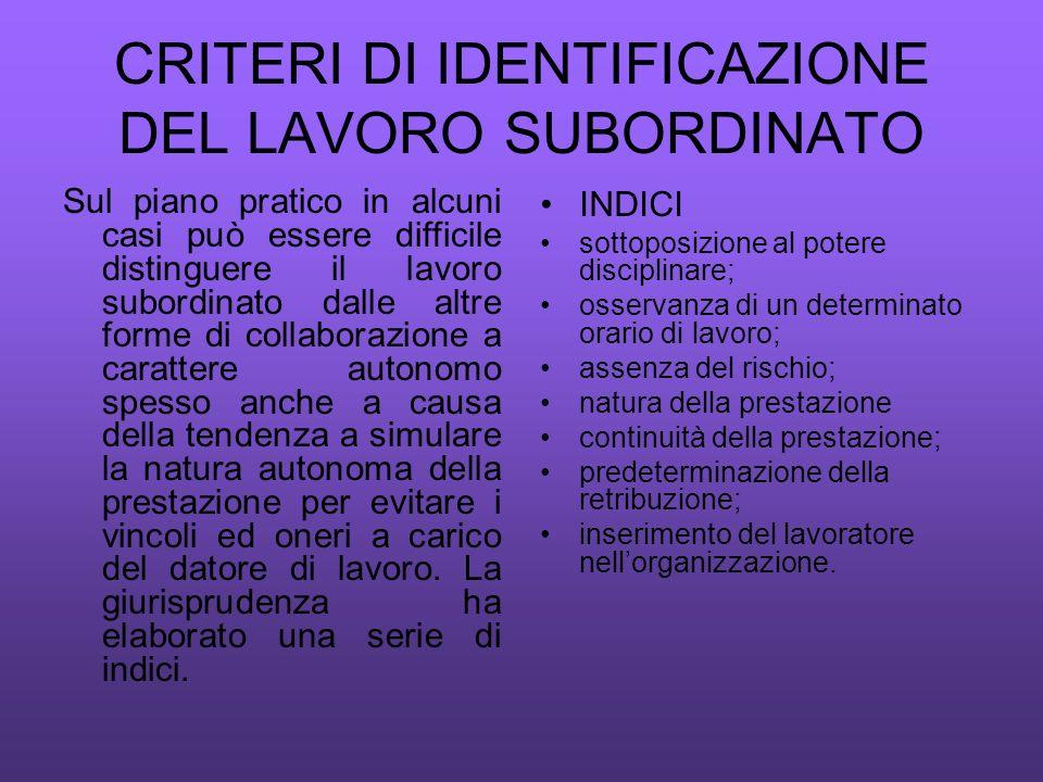CRITERI DI IDENTIFICAZIONE DEL LAVORO SUBORDINATO