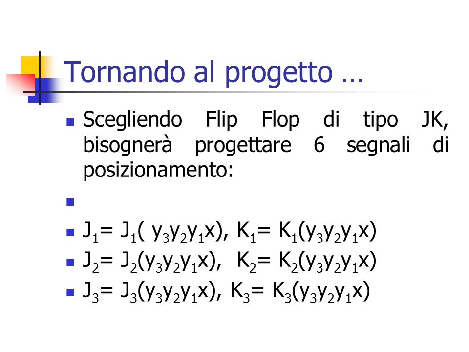 Tornando al progetto … Scegliendo Flip Flop di tipo JK, bisognerà progettare 6 segnali di posizionamento: