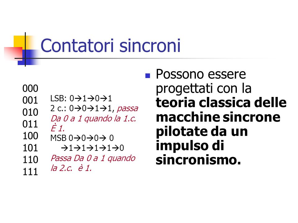 Contatori sincroni Possono essere progettati con la teoria classica delle macchine sincrone pilotate da un impulso di sincronismo.