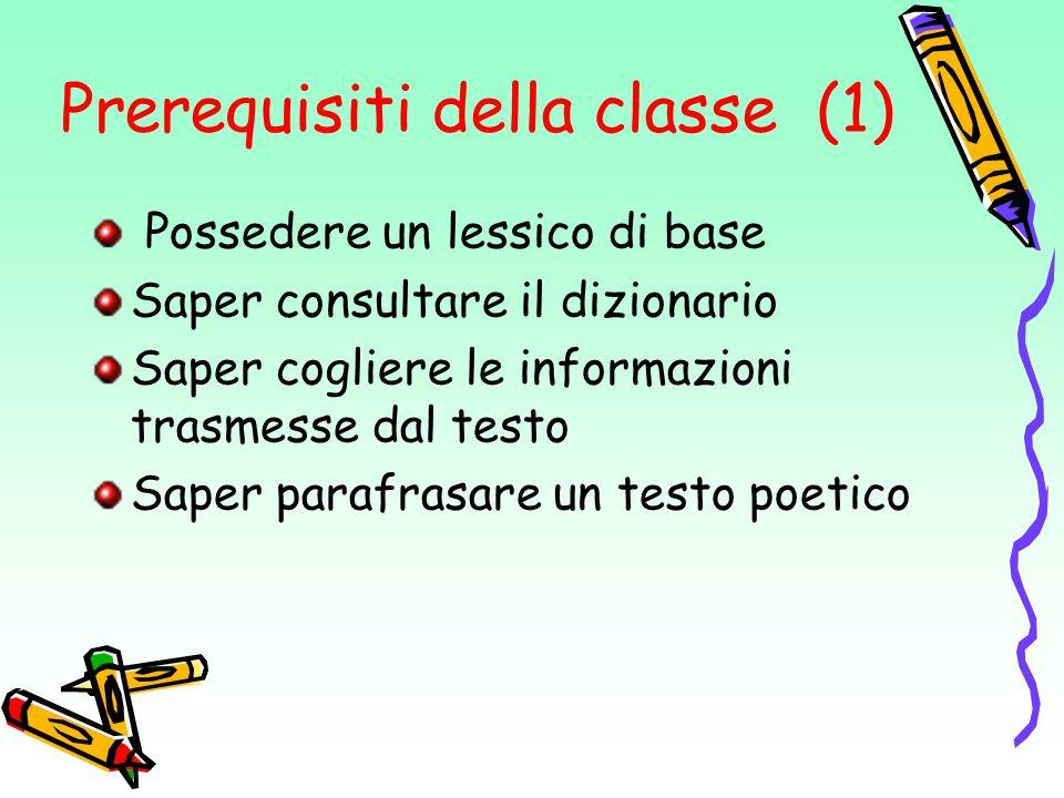 Prerequisiti della classe (1)