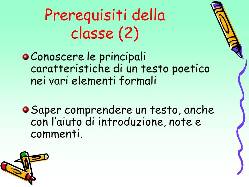 Prerequisiti della classe (2)