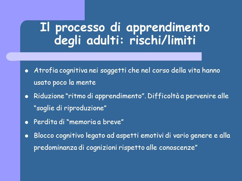 Il processo di apprendimento degli adulti: rischi/limiti