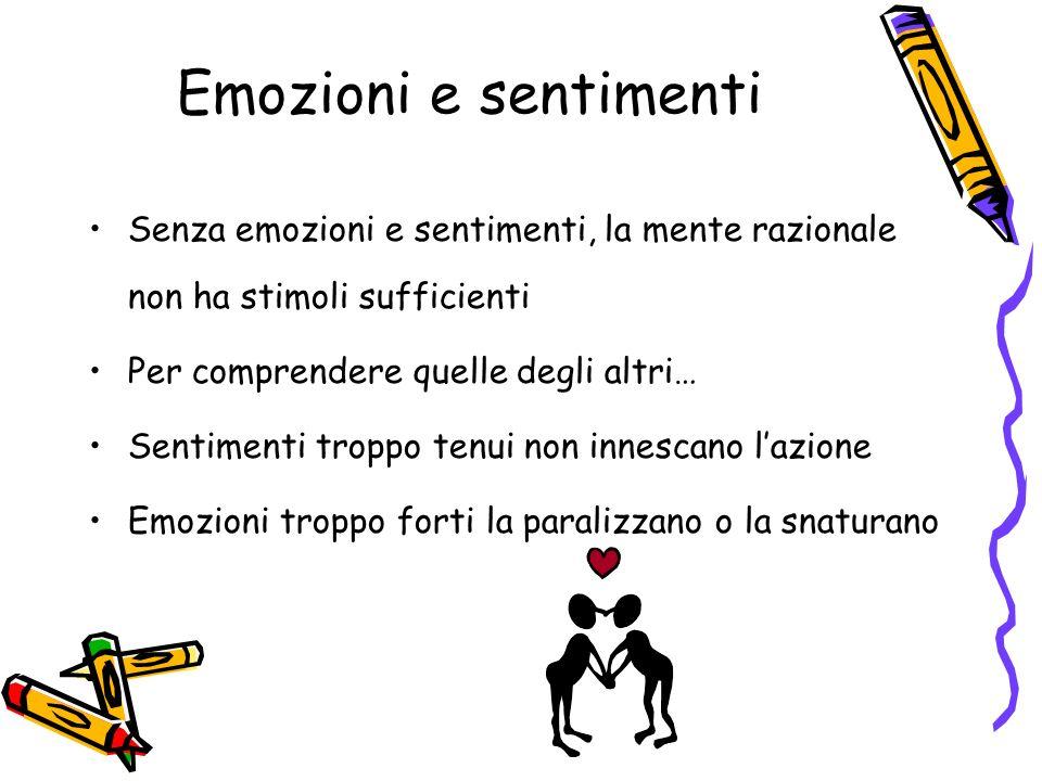 Emozioni e sentimenti Senza emozioni e sentimenti, la mente razionale non ha stimoli sufficienti. Per comprendere quelle degli altri…