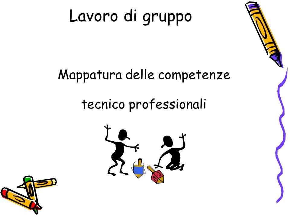 Lavoro di gruppo Mappatura delle competenze tecnico professionali