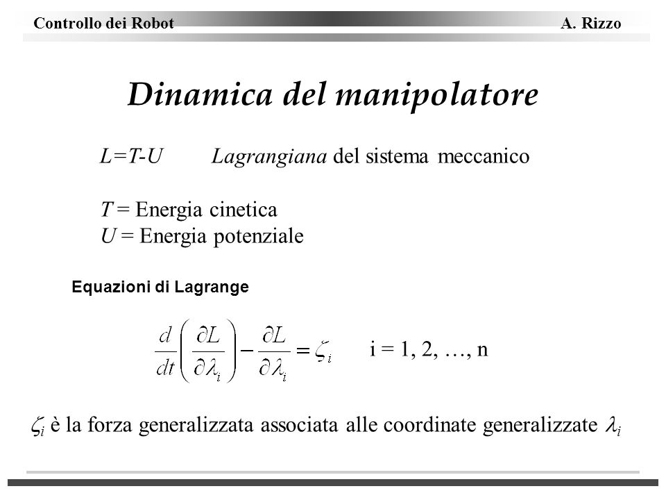 Dinamica del manipolatore