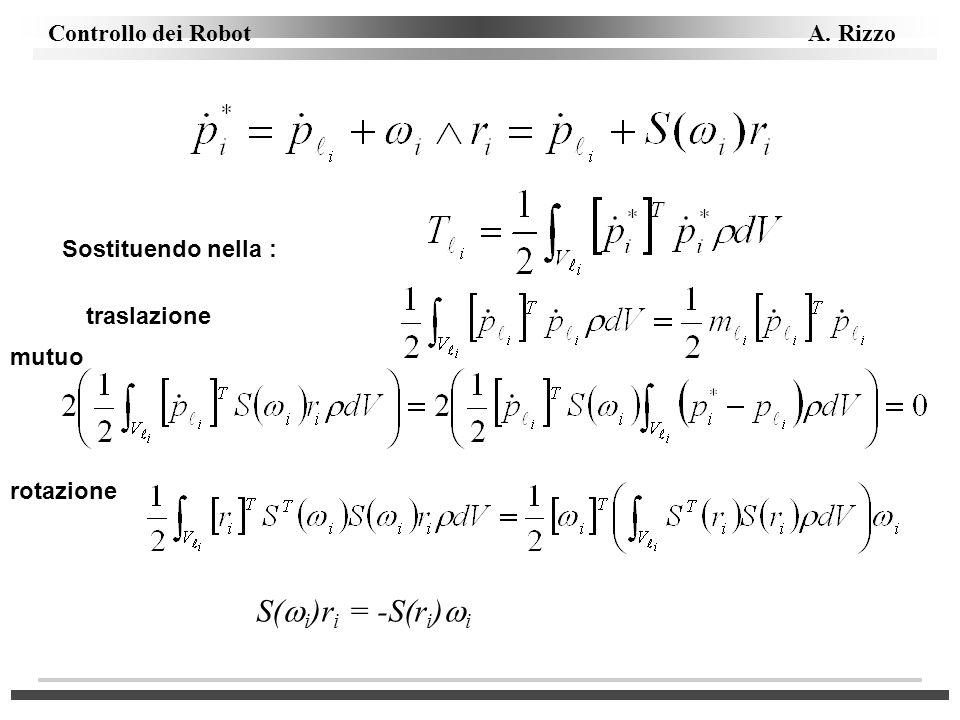 Sostituendo nella : traslazione mutuo rotazione S(i)ri = -S(ri)i