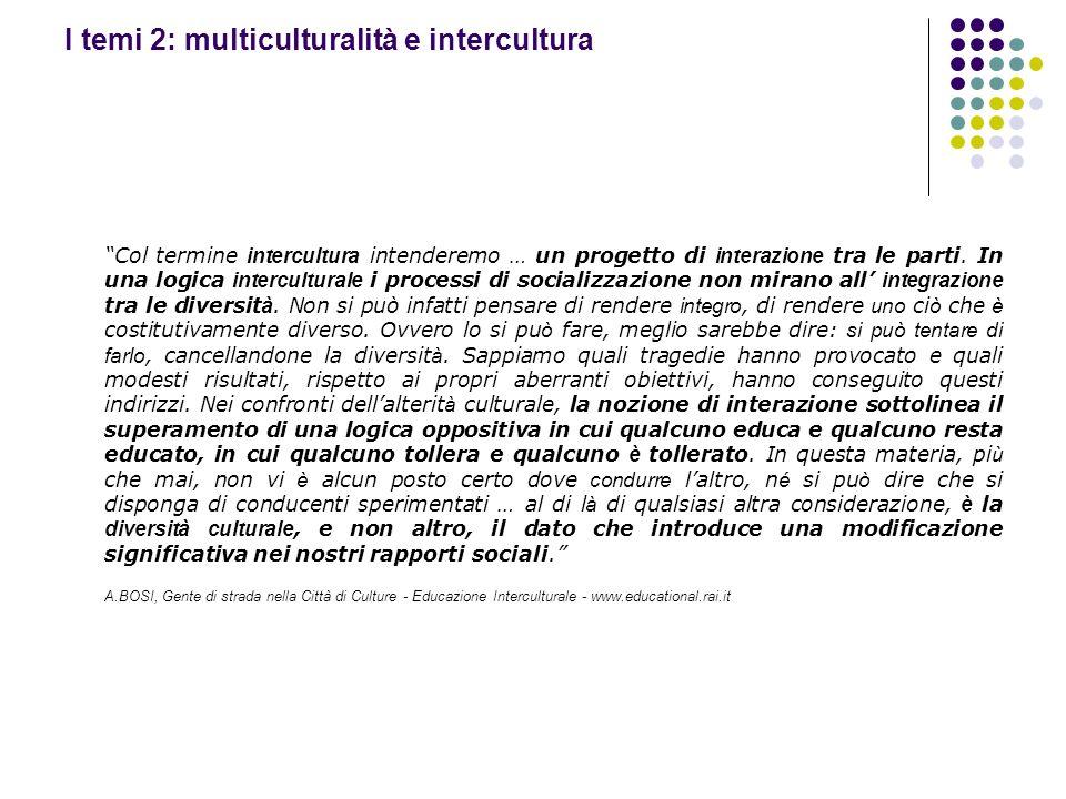 I temi 2: multiculturalità e intercultura