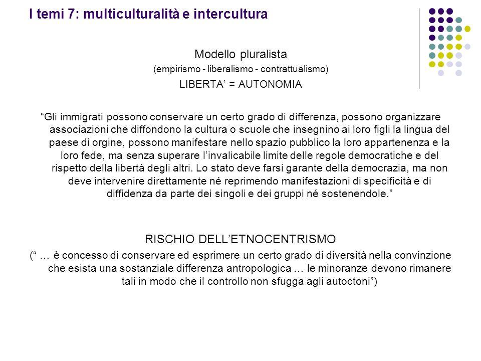 I temi 7: multiculturalità e intercultura