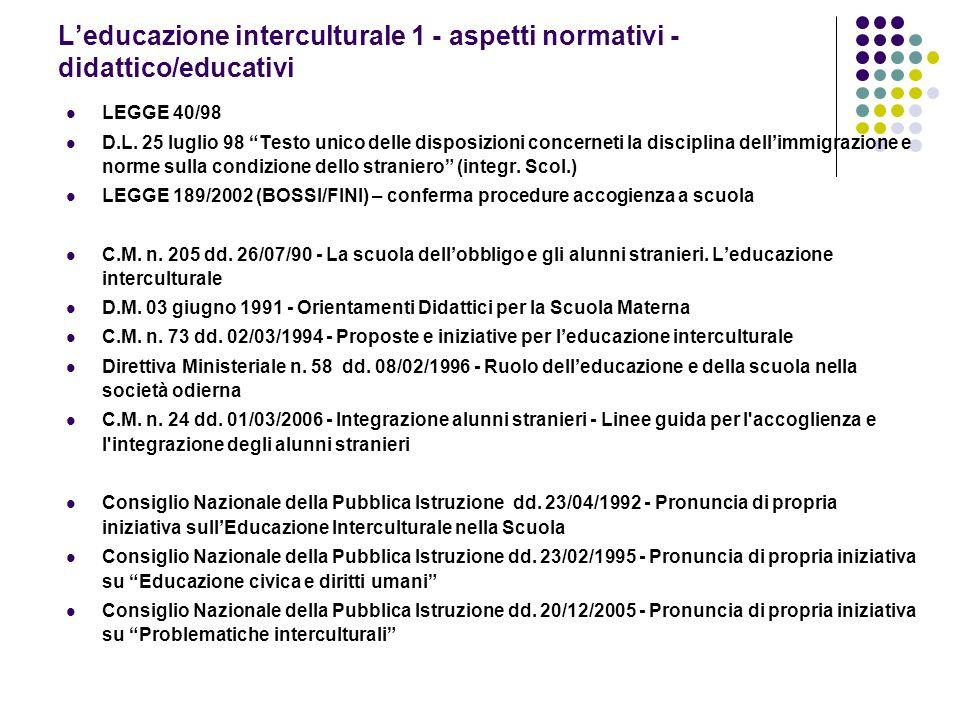 L'educazione interculturale 1 - aspetti normativi - didattico/educativi