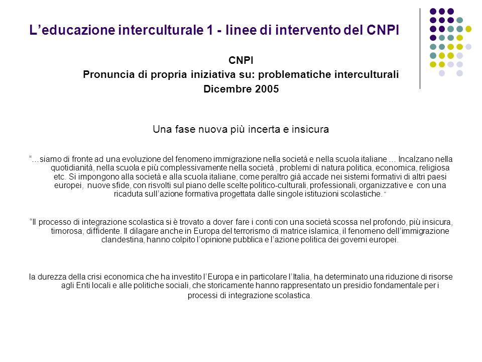 L'educazione interculturale 1 - linee di intervento del CNPI