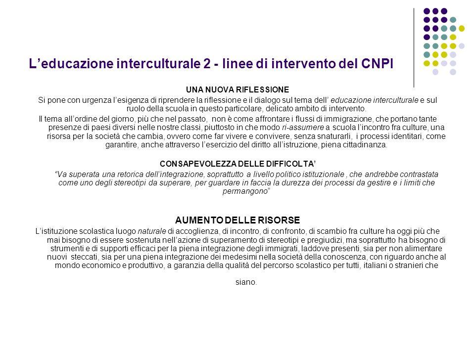 L'educazione interculturale 2 - linee di intervento del CNPI