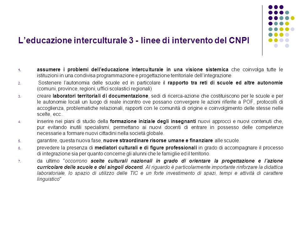 L'educazione interculturale 3 - linee di intervento del CNPI