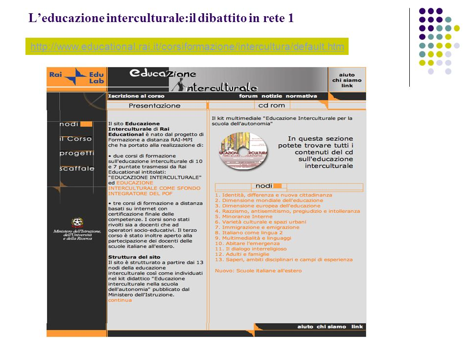 L'educazione interculturale:il dibattito in rete 1