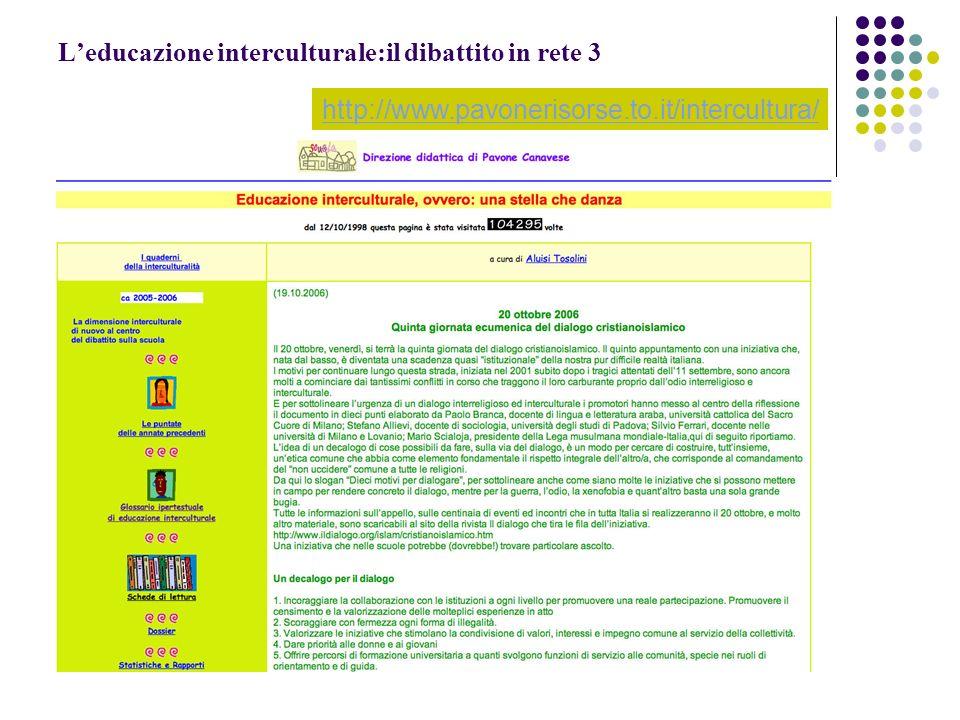 L'educazione interculturale:il dibattito in rete 3
