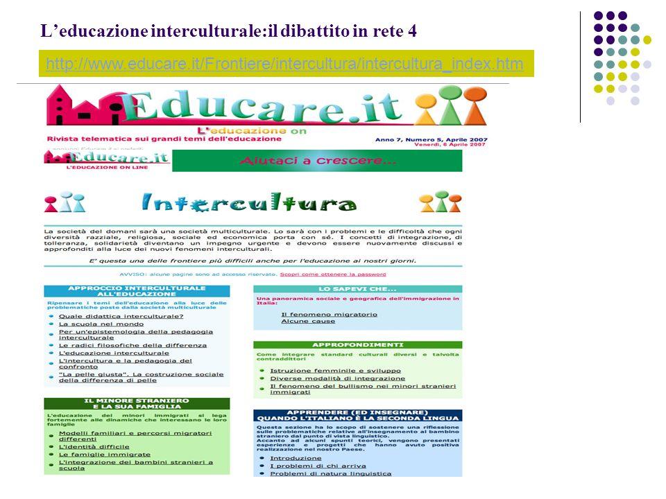 L'educazione interculturale:il dibattito in rete 4