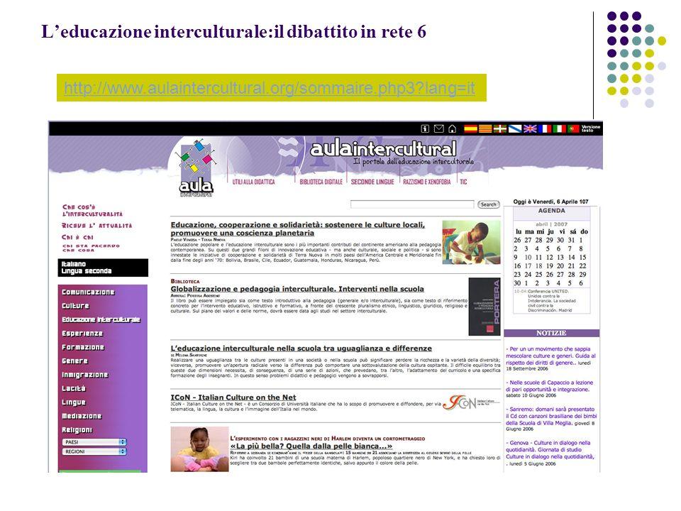 L'educazione interculturale:il dibattito in rete 6