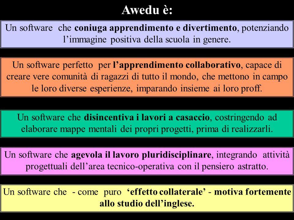 Awedu è:Un software che coniuga apprendimento e divertimento, potenziando l'immagine positiva della scuola in genere.
