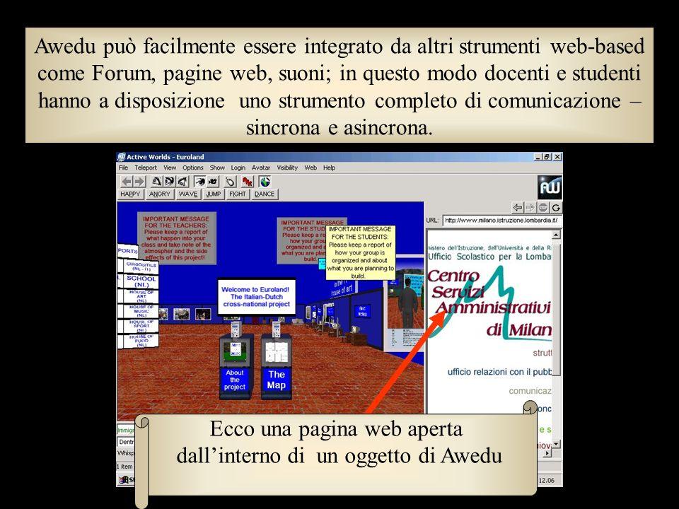 Ecco una pagina web aperta dall'interno di un oggetto di Awedu