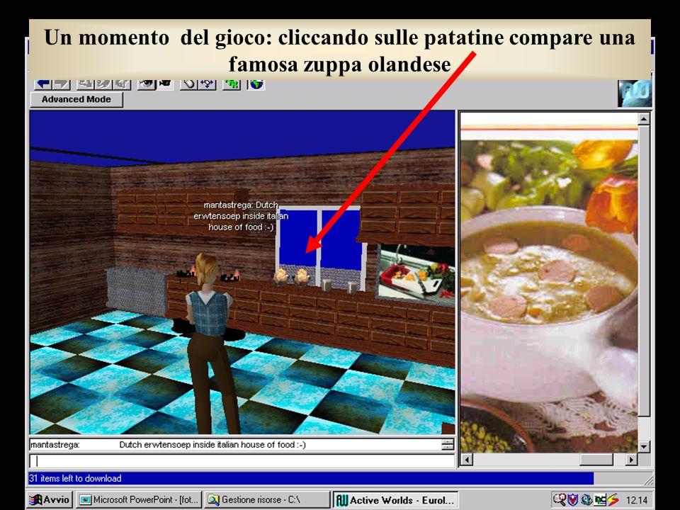 Un momento del gioco: cliccando sulle patatine compare una famosa zuppa olandese