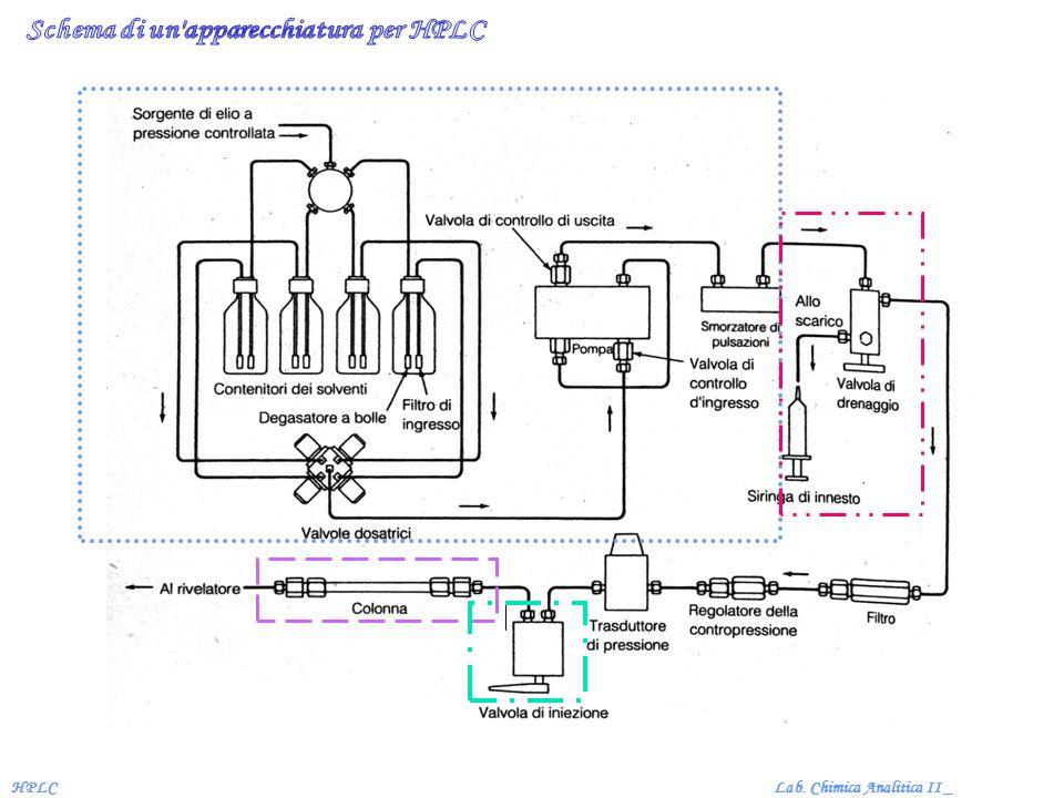Schema di un apparecchiatura per HPLC
