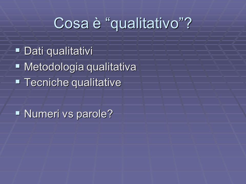 Cosa è qualitativo Dati qualitativi Metodologia qualitativa