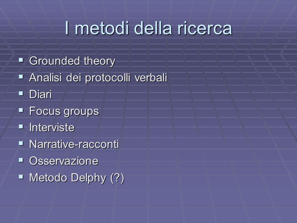 I metodi della ricerca Grounded theory Analisi dei protocolli verbali