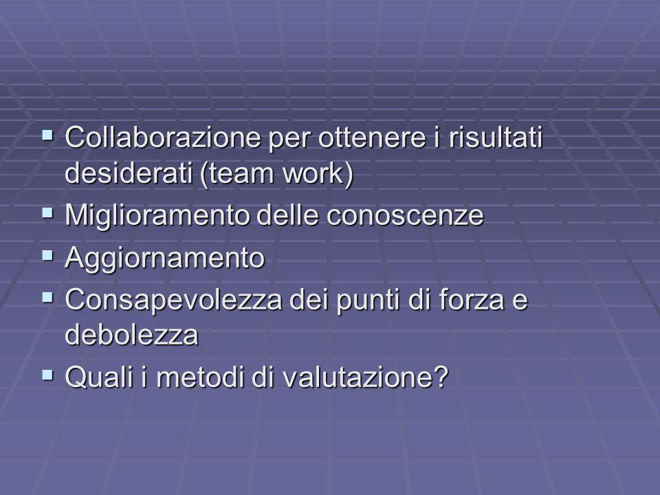 Collaborazione per ottenere i risultati desiderati (team work)
