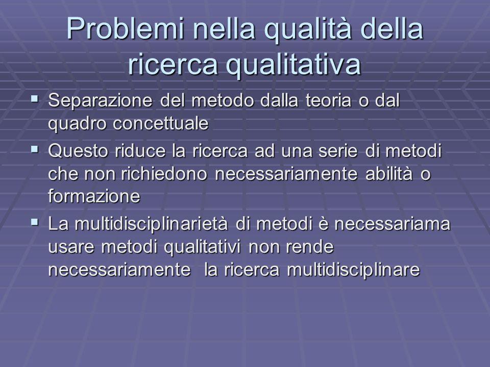 Problemi nella qualità della ricerca qualitativa