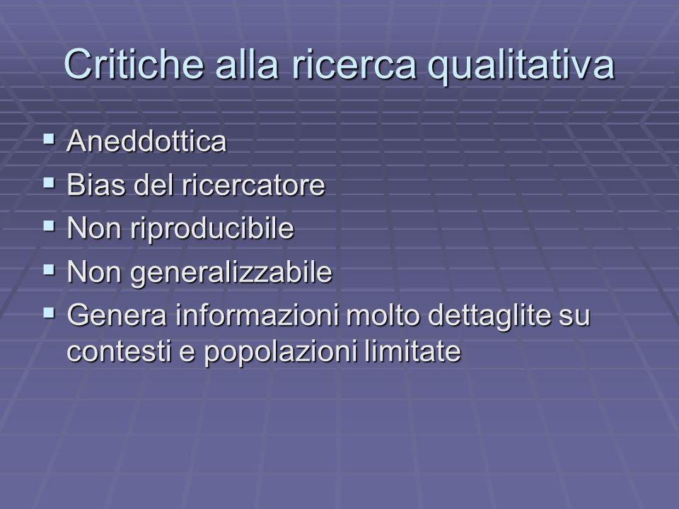 Critiche alla ricerca qualitativa