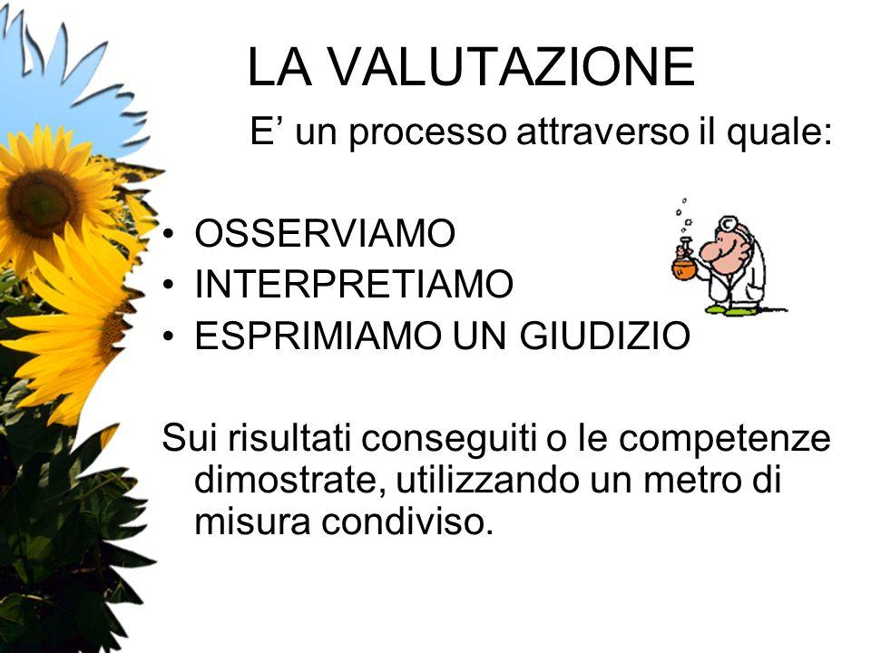 LA VALUTAZIONE E' un processo attraverso il quale: OSSERVIAMO