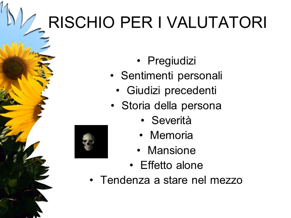 RISCHIO PER I VALUTATORI
