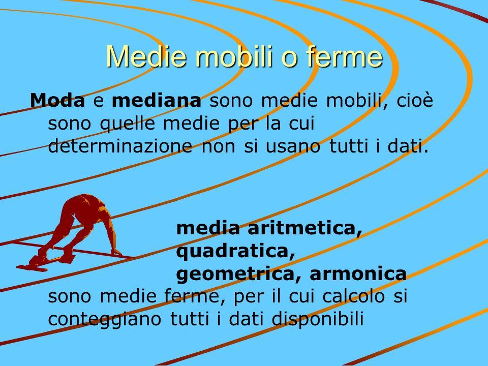 Medie mobili o ferme Moda e mediana sono medie mobili, cioè sono quelle medie per la cui determinazione non si usano tutti i dati.
