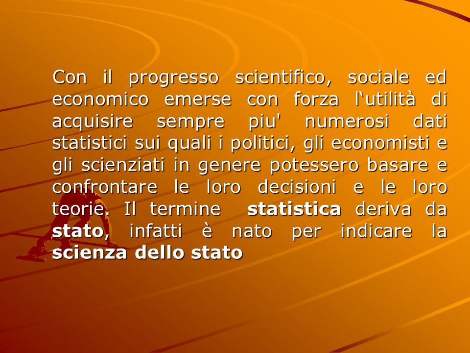 Con il progresso scientifico, sociale ed economico emerse con forza l'utilità di acquisire sempre piu numerosi dati statistici sui quali i politici, gli economisti e gli scienziati in genere potessero basare e confrontare le loro decisioni e le loro teorie.