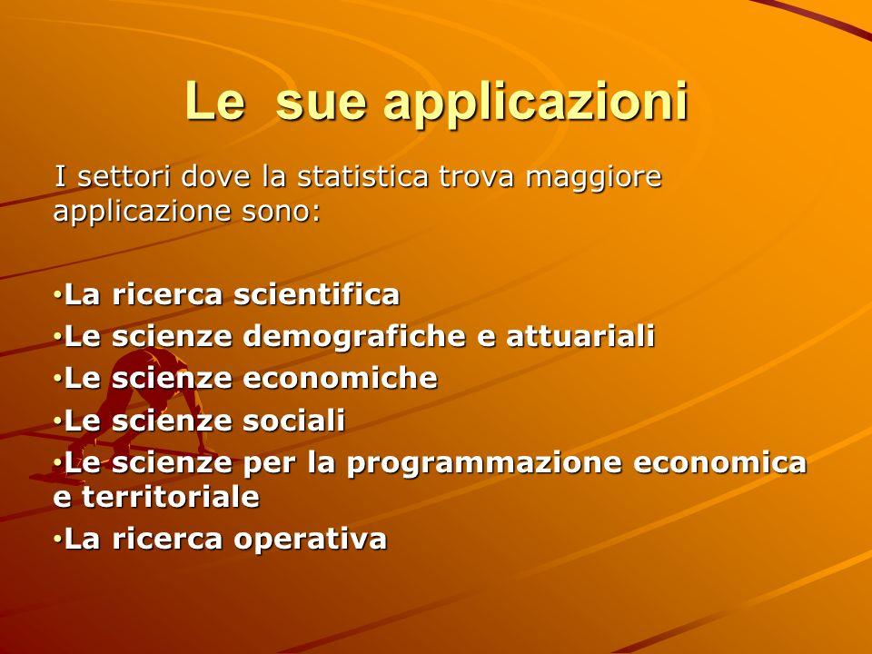Le sue applicazioni I settori dove la statistica trova maggiore applicazione sono: La ricerca scientifica.