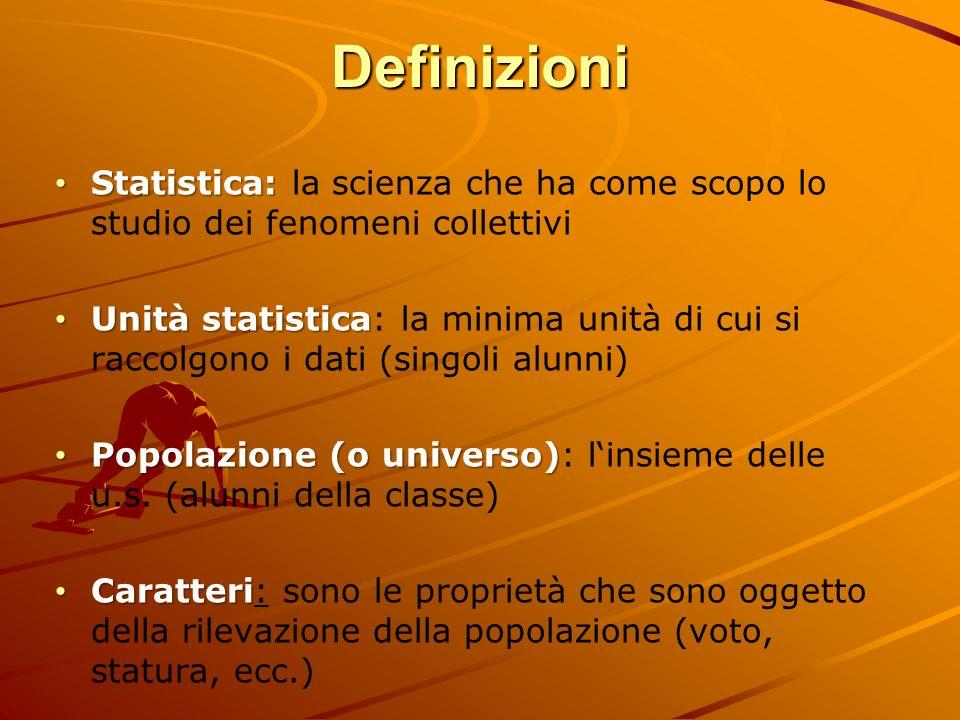 Definizioni Statistica: la scienza che ha come scopo lo studio dei fenomeni collettivi.