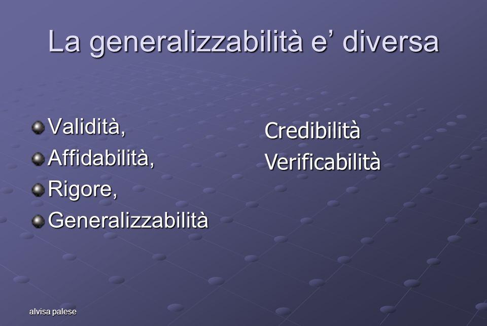 La generalizzabilità e' diversa